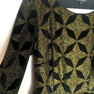 Topshop Black Velvet Dress with Gold Stars